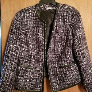 Fashion bug size 16 tweed blazer with leather